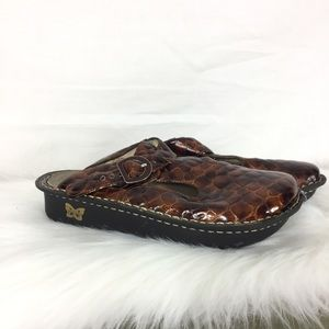 Alegria slip on reptile snake embossed brown shoes